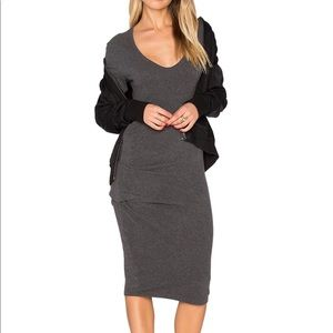 Philosophy charcoal fitted midi dress